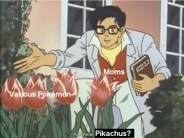 Funny meme about pokemon and moms.