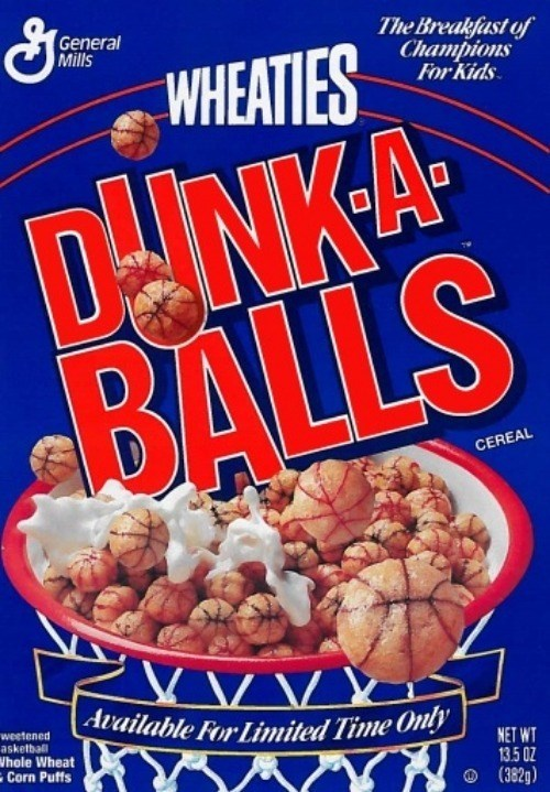 Breakfast cereal - The Breakfast of Champions For Kids General Mills WHEATIES DNKA BALLS CEREAL VV. Available For Limited Time Only weetened asketball Whole Wheat Corn Puffs NET WT 135 0Z (382g)