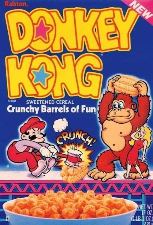 Breakfast cereal - NEW DONKEY KONG Ralston SWEETENED CEREAL Brand Crunchy Barrels of Fun CUNCH AAM NET WT 17 0Z (4 LB.10Z) A81m