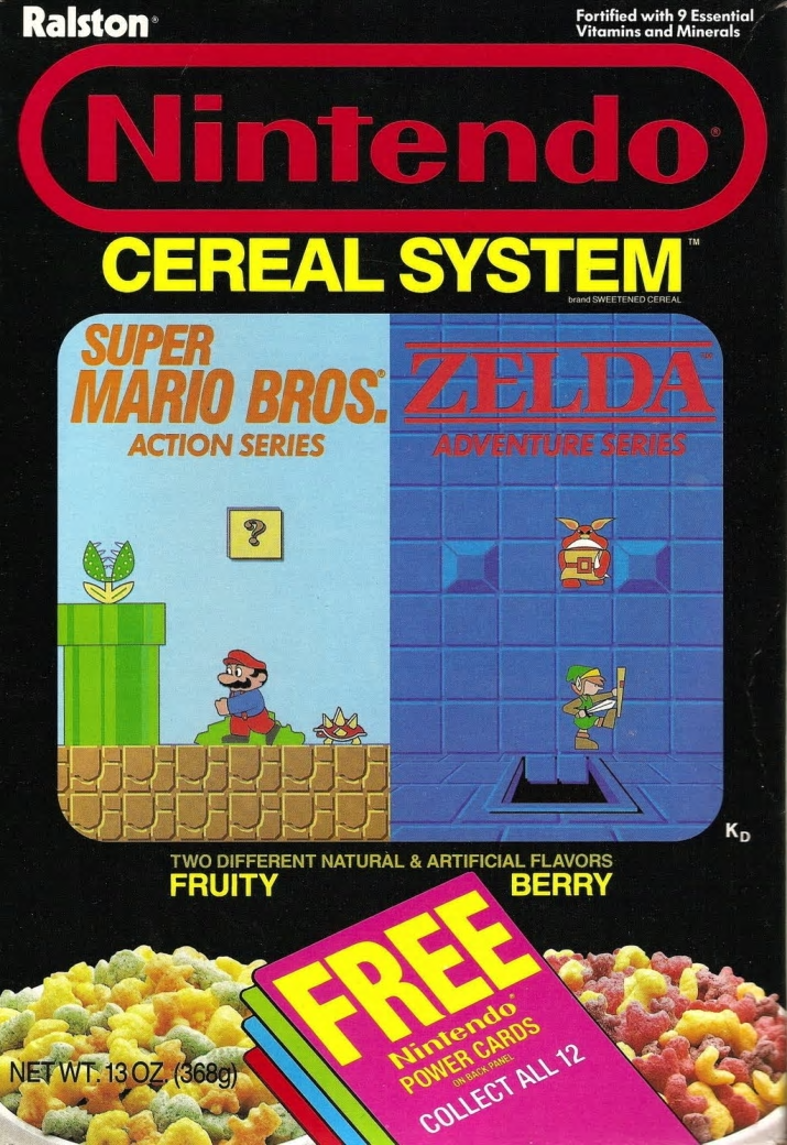 Cuisine - Ralston Fortified with 9 Essential Vitamins and Minerals Nintendo CEREAL SYSTEM SUPER MARIO BROS. TM brand SWEETENED CEREAL ACTION SERIES TURESERIES TWO DIFFERENT NATURAL & ARTIFICIAL FLAVORS FRUITY KD BERRY FREE Nintendo POWER CARDS NETWT 13 OZ (368g) ON BACK PANEL COLLECT ALL 12 (P