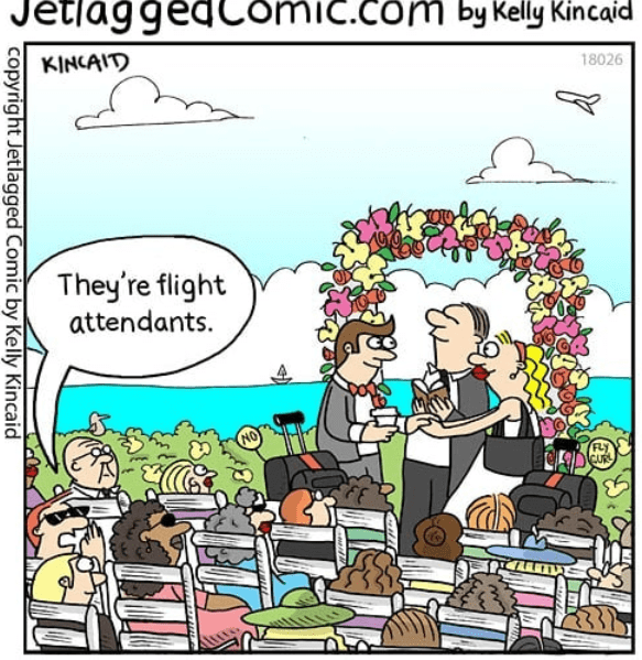 Cartoon - JetlaggedComic.comb Kelly Kincaid 18026 KINCAITD They're flight attendants. CUR copyright Jetlagged Comic by Kelly Kincaid