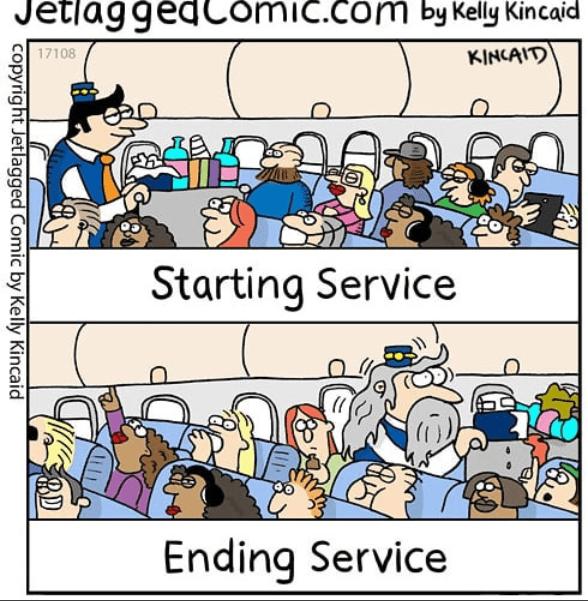 Cartoon - JetlaggedComic.com by Kelly Kincai 17108 KINCAIT Starting Service Ending Service copyright Jetlagged Comic by Kelly Kincaid