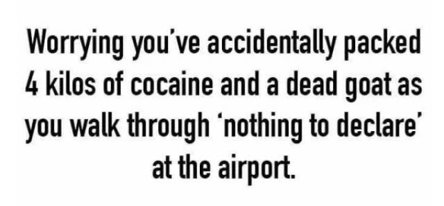 Text - Worrying you've accidentally packed 4 kilos of cocaine and a dead goat as you walk through 'nothing to declare at the airport.