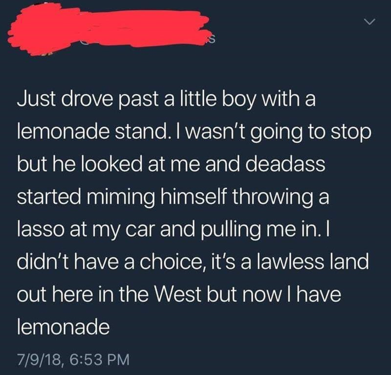 happy meme of a lemonade stand of a boy that was miming