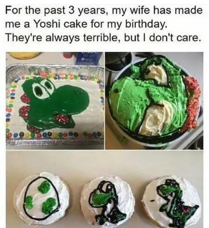 happy meme of a mom that makes a yoshi cake for her child every year