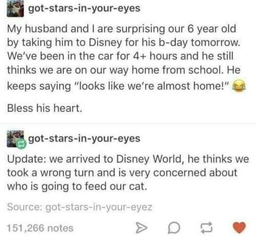 happy meme about a couple that are trying to surprise their son by taking him to Disney