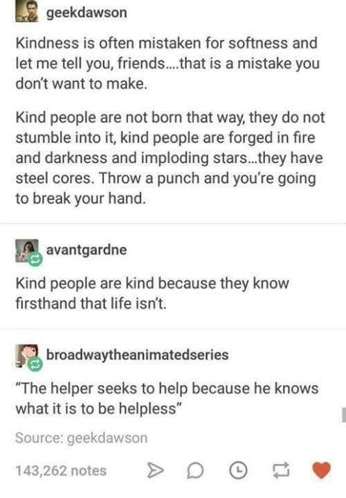 happy meme about how kind people are not soft people