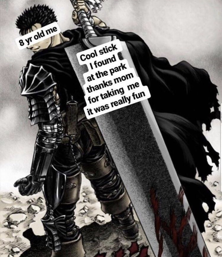 happy meme with a big sword anime character