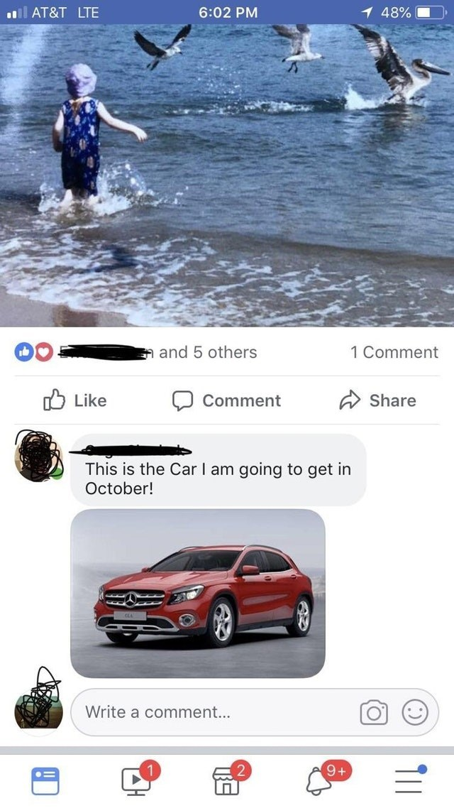 old people fail - Vehicle - ll AT&T LTE 6:02 PM 1 48% n and 5 others 1 Comment Like Comment Share This is the Car I am October! going to get in Write a comment... 9+