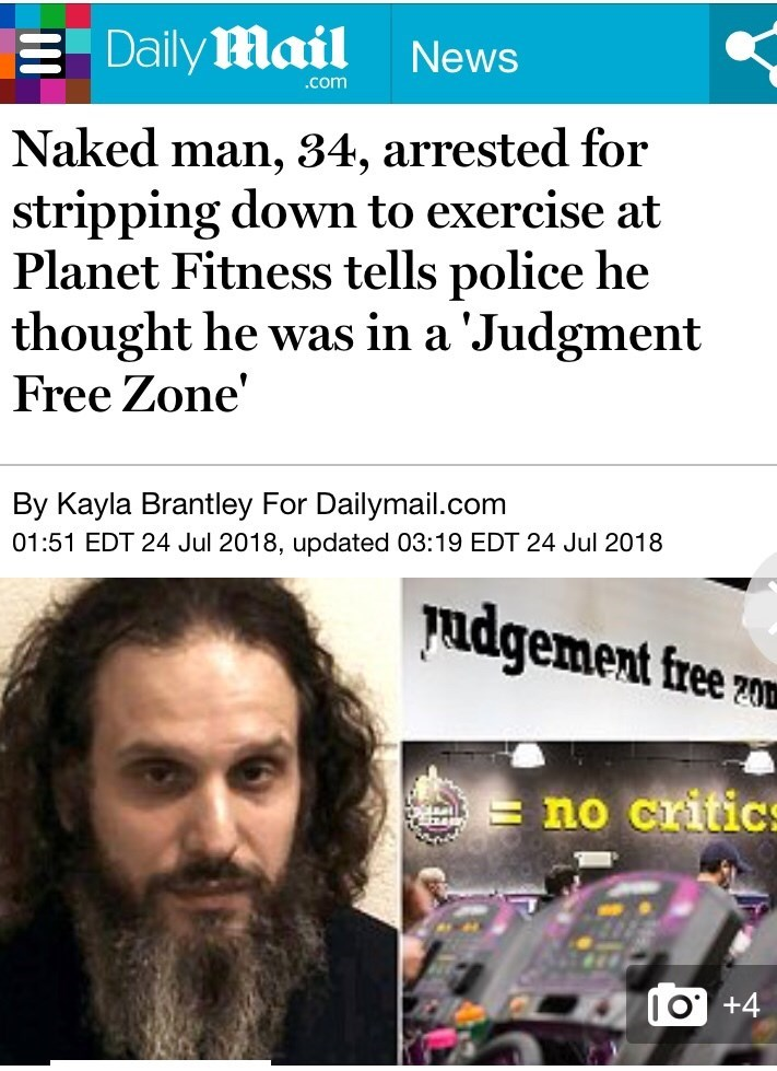 News headline about a man who stripped naked at a Planet Fitness because he thought it was a 'judgment-free zone'