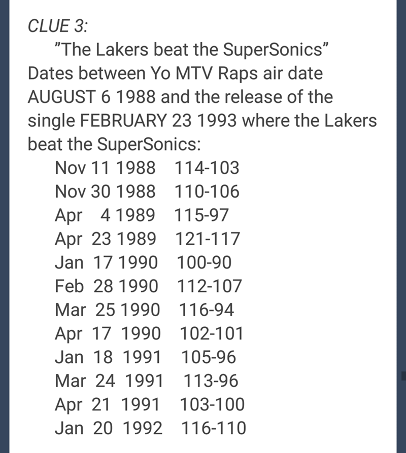 "Text - CLUE 3: ""The Lakers beat the SuperSonics"" Dates between Yo MTV Raps air date AUGUST 6 1988 and the release of the single FEBRUARY 23 1993 where the Lakers beat the SuperSonics: Nov 11 1988 114-103 Nov 30 1988 110-106 Apr 4 1989 Apr 23 1989 115-97 121-117 Jan 17 1990 100-90 Feb 28 1990 112-107 Mar 25 1990 116-94 Apr 17 1990 102-101 Jan 18 1991 105-96 Mar 24 1991 113-96 Apr 21 1991 103-100 Jan 20 1992 116-110"