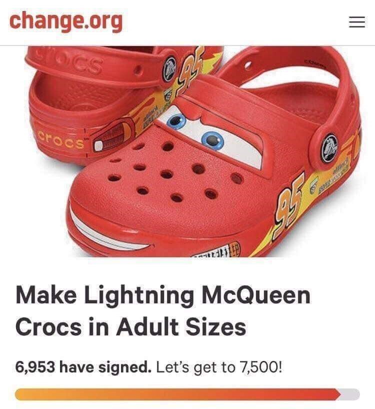 Wednesday meme about Change.org request to make Lightning McQueen crocs in adult size