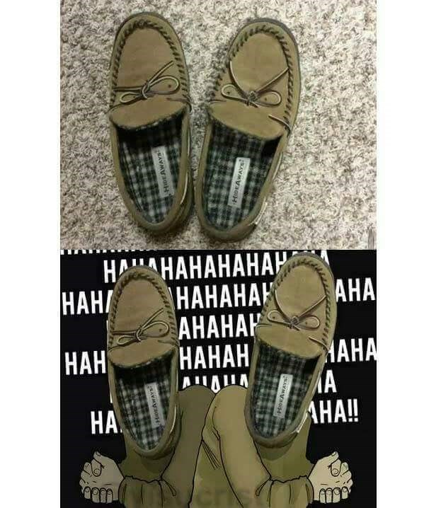 Wednesday meme of shoes that look like a laughing grinch