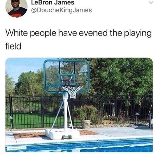 Wednesday meme of a basketball hoop over a swimming pool joked as a level playing field