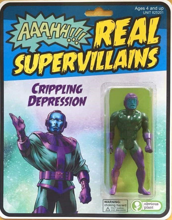 Wednesday meme of a supervillain that weaponized crippling depression