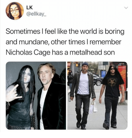 Product - LK @ellkay Sometimes I feel like the world is boring and mundane, other times I remember Nicholas Cage has a metalhead son