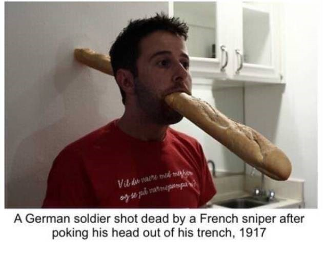 Arm - Vib do vare med me A German soldier shot dead by a French sniper after poking his head out of his trench, 1917