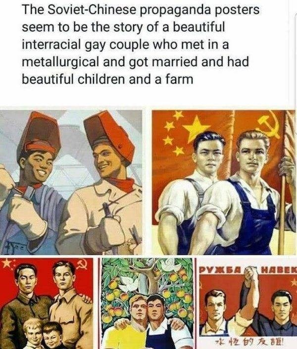 Art - The Soviet-Chinese propaganda posters seem to be the story of a beautiful interracial gay couple who met in a metallurgical and got married and had beautiful children and a farm PYXEA HABEK 水校的友誼
