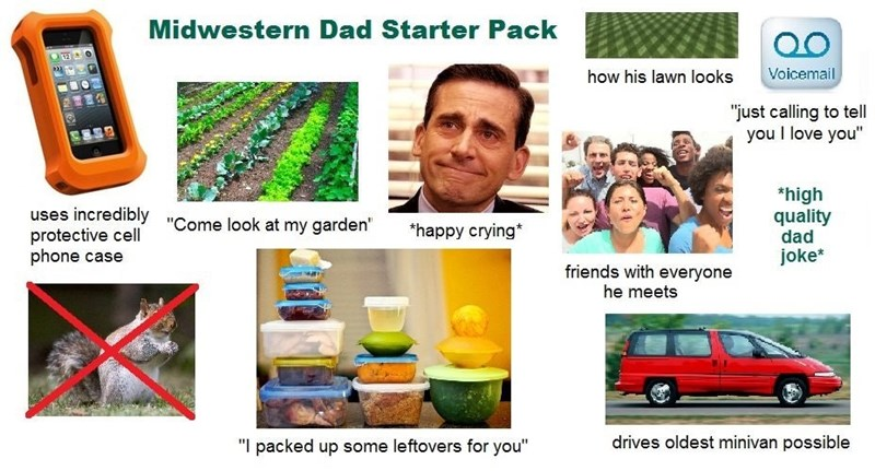 wholesome Midwestern dad starter pack meme