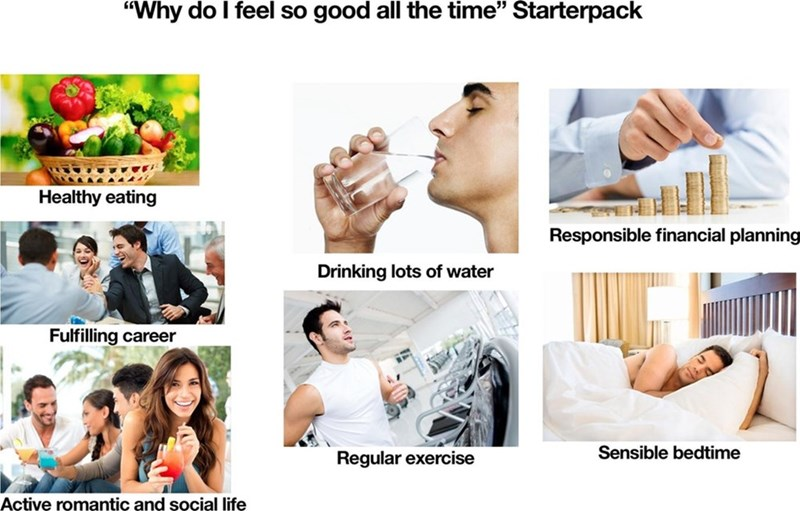 starter pack meme with healthy habits