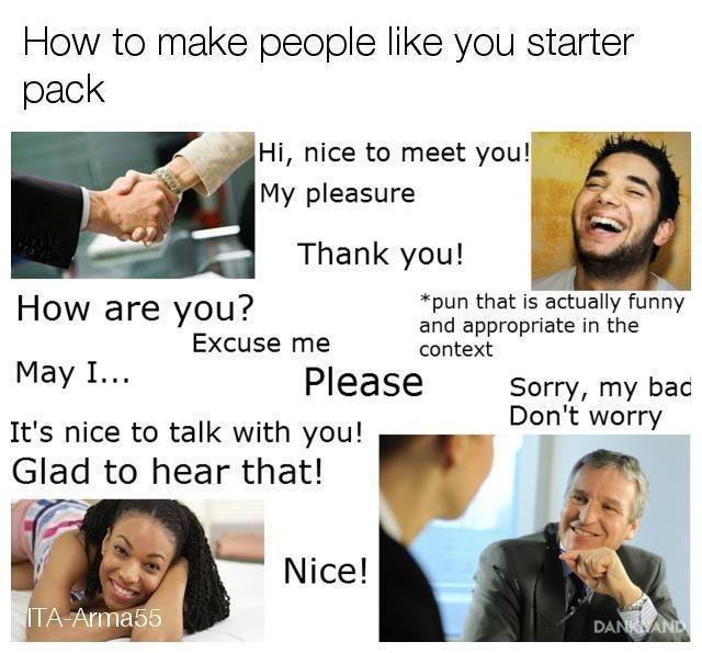 starter pack meme for likable people
