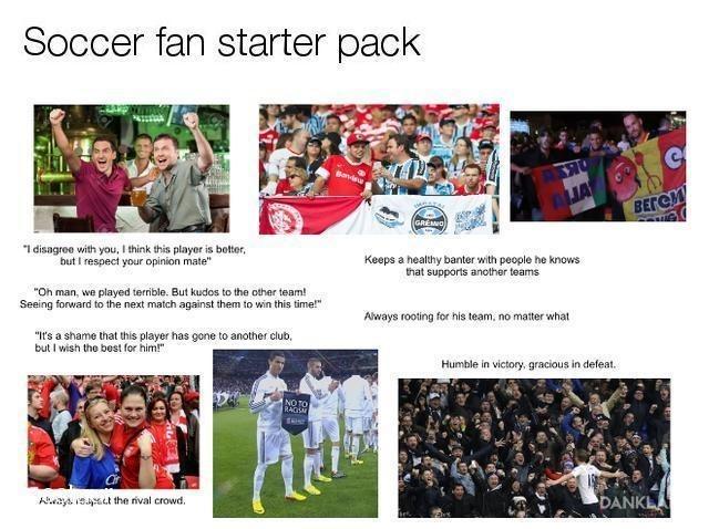 wholesome soccer fan starter pack meme