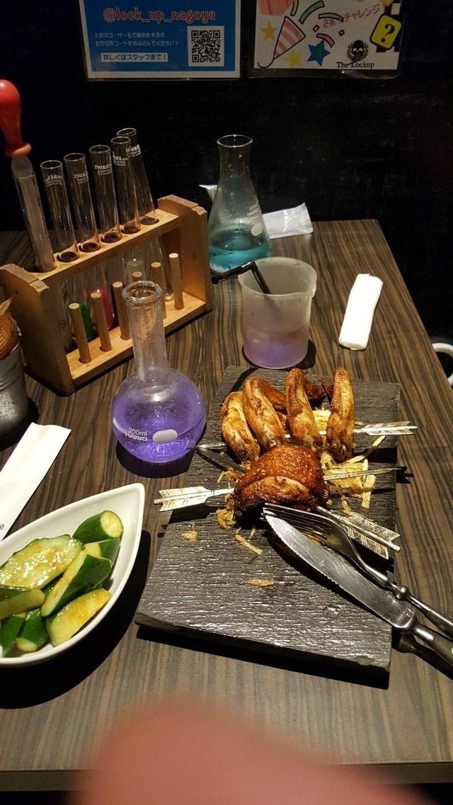 weird restaurant - Dish - @lock up nagoya unn-tt-KTREST80 さあチャレンジ EnODn-bsnaRATCHAL C 詳しくはスタッフまて The Lockup wArt IWA