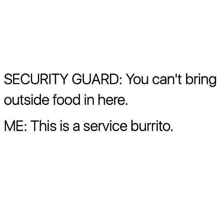 """Security guard: You can't bring outside food in here; Me: This is a service burrito"""