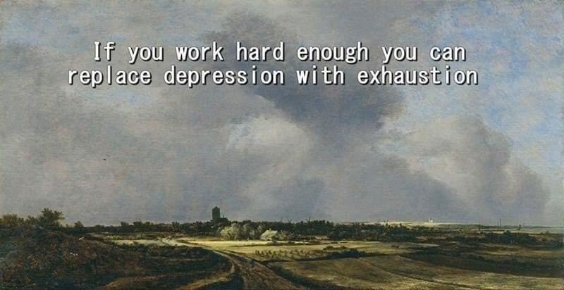 Text - If you work hard enough you can replace depression with exhaustion