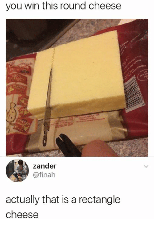 pic of block of cheese getting described as other shapes