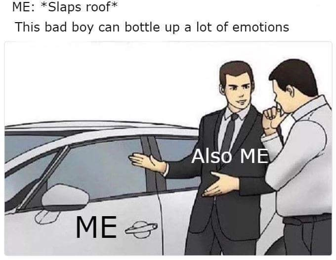Motor vehicle - ME: *Slaps roof* This bad boy can bottle up a lot of emotions Also ME МЕ.