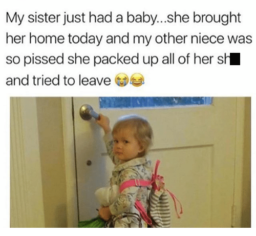 Text - My sister just hada baby...she brought her home today and my other niece was so pissed she packed up all of her sh and tried to leave