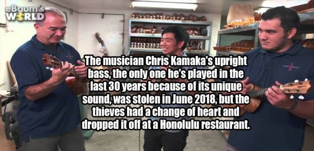 Font - eBaum's WSRLD The musician Chris Kamaka'supright bass, the only onehe's played in the last 30 years because of its unique sound,wasstolen in June 2018, but the thieves hadachange of heartand droppeditoffata Honolulu restaurant.