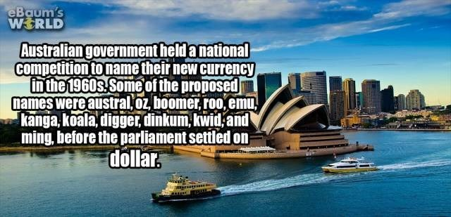 Water transportation - eBaum's WERLD Australiangovernment held a national competition to name their new currency in the 1960s Someof the proposed names were austral.oz, boomer, roo,emu, kanga,koala, digger, dinkum, kwid, and ming, before the parliament settled on dollar.
