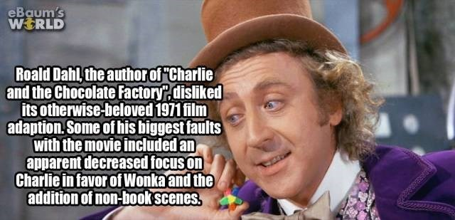 "Photo caption - eBaum's WERLD Roald Dahl the authorof""Charlie and the Chocolate Factory.disliked its otherwise-beloved 1971 film adaption.Some of his biggest faults with the movie included an apparent decreased focus on Charlie in favor ofWonka and the addition of non-bookscenes."