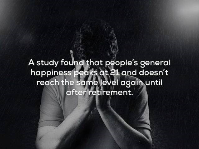 Text - A study found that people's general happiness peaks at 21 and doesn't reach the same level again until after retirement.