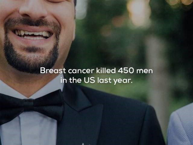 Facial expression - Breast cancer killed 450 men in the US last year.