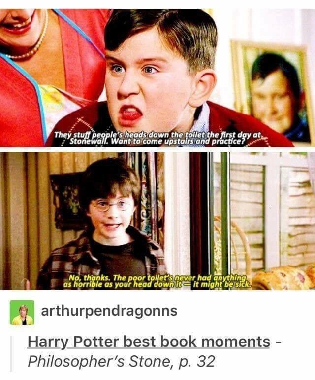 Harry Potter Tumblr meme about best book moments dudley harry