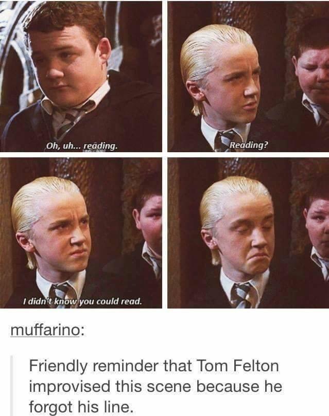 Harry Potter Tumblr meme about Tom Felton forgot his line