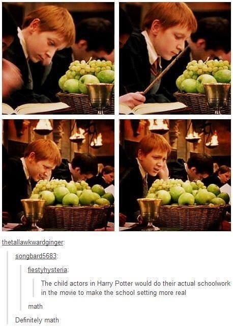 Harry Potter Tumblr meme about the actors doing actual school work in some of the scenes