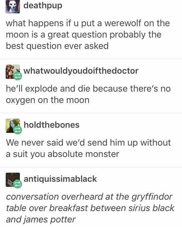 Harry Potter Tumblr meme about Werewolf on the moon