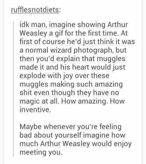 Harry Potter Tumblr meme imagine showing Arthur Weasley a gif for the first time. At first of course he'd just think it was a normal wizard photograph, but then you'd explain that muggles made it and his heart would just explode with joy over these muggles making such amazing shit even though they have no magic at all. How amazing. How inventive. Maybe whenever you're feeling bad about yourself imagine how much Arthur Weasley would enjoy meeting you.
