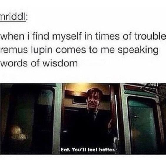 Harry Potter Tumblr meme when i find myself in times of trouble- remus lupin comes to me speaking words of wisdom Eat. You'll feel better.