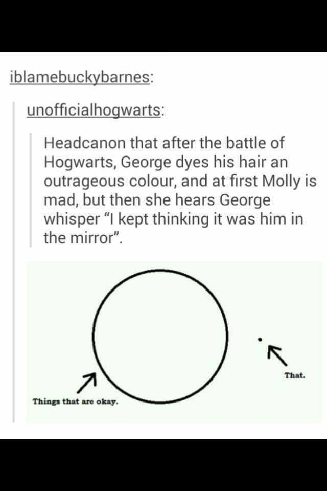 "Harry Potter Tumblr meme Headcanon that after the battle of Hogwarts, George dyes his hair an outrageous colour, and at first Molly is mad, but then she hears George whisper ""I kept thinking it was him in the mirror"" That Things that are okay"