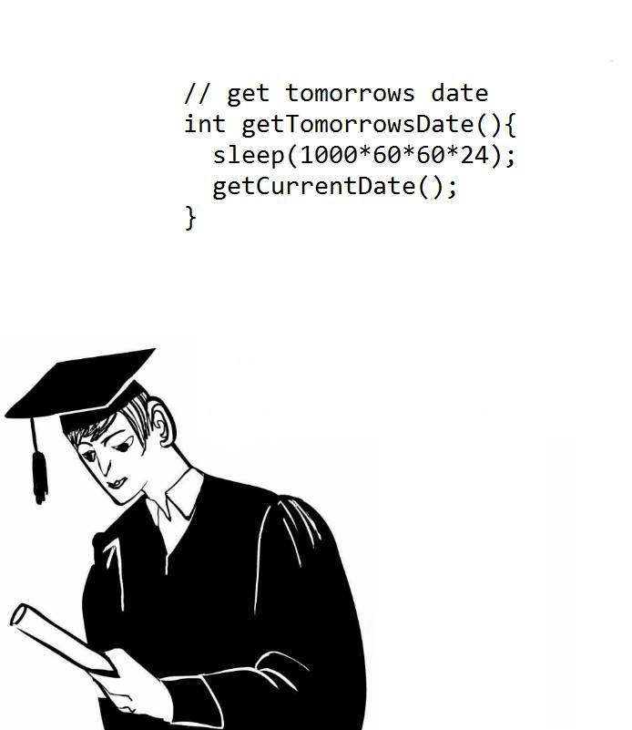 programmer meme - Text - / get tomorrows date int getTomorrowsDate () { sleep(1000*60*60*24); getCurrentDate( ); }
