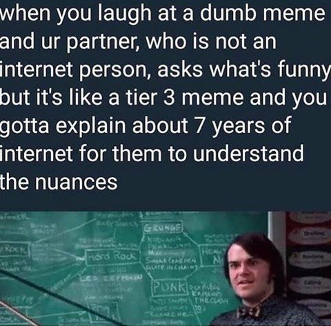 meme - Text - when you laugh at a dumb meme and ur partner, who is not an internet person, asks what's funny but it's like a tier 3 meme and you gotta explain about 7 years of internet for them to understand the nuances GRUNGE NigNANA Pd RockSt ne Aure NCRA e zer re PUNKn PASMTHTHECLASH HE 0O090