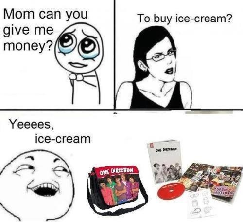 Kid buys One Direction merchandise with 'ice cream' money