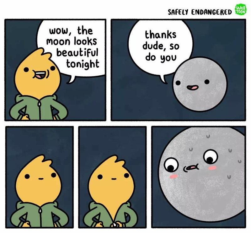 Facial expression - WEB SAFELY ENDANCERED TOON wow, the Moon looks beautiful tonight thanks dude, so do you
