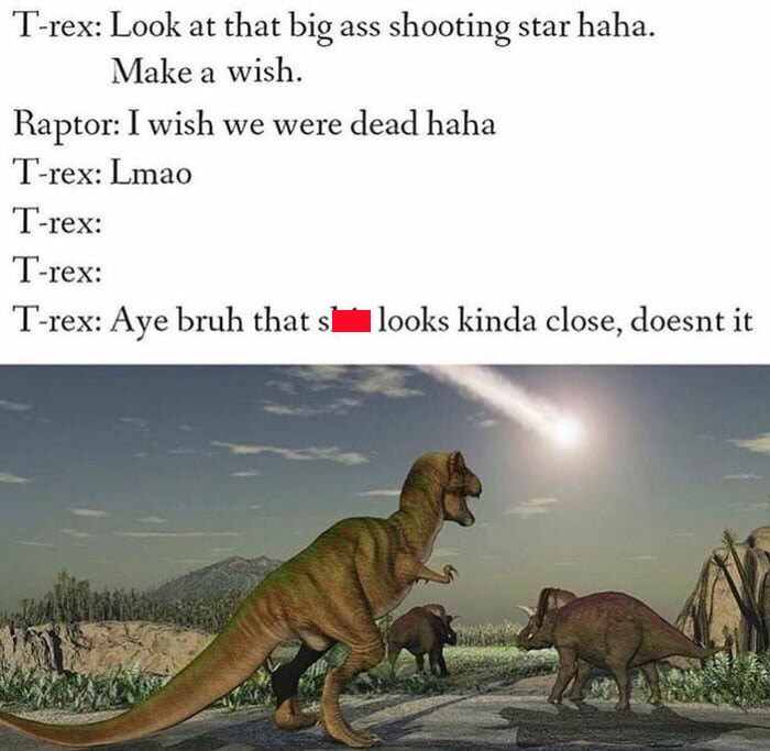 Extinction - Trex: Look at that big ass shooting star haha Make a wish Raptor: I wish we were dead haha T-rex: Lmao T-rex: T-rex: T-rex: Aye bruh that slooks kinda close, doesnt it