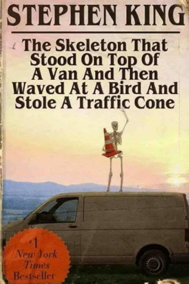 spooky meme about a book that a skeleton stole a cone and stood on top of a car